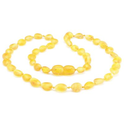 Colar de âmbar bebê olive limão não polido - 33 cm
