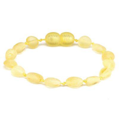 Pulseira / tornozeleira de âmbar bebê olive limão não polido - 14 cm