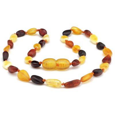Colar de âmbar bebê olive multicolor não polido - 33 cm