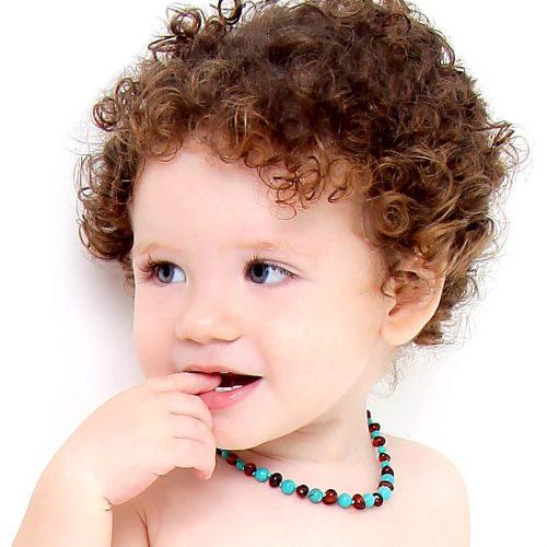 Colar de âmbar bebê barroco conhaque e turquesa polido - 33 cm