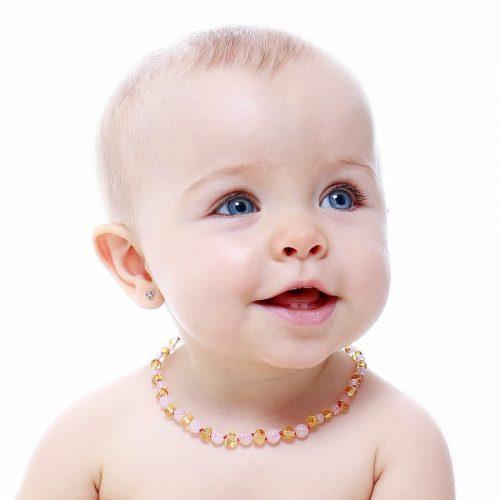 Colar de âmbar bebê barroco limão e quartzo rosa polido - 33 cm