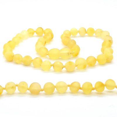 Colar de âmbar bebê barroco limão não polido - 33 cm