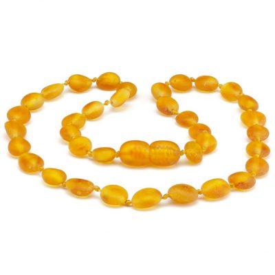 Colar de âmbar criança olive mel não polido - 38 cm