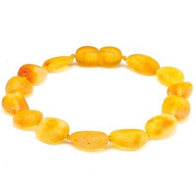 Pulseira de âmbar adulto olive mel não polido - 18 cm