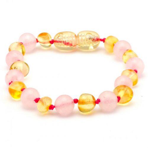 Pulseira / tornozeleira de âmbar bebê premium barroco limão e quartzo rosa polido - 14 cm